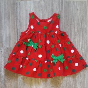 Corduroy red polka dot Christmas dress 12 mo